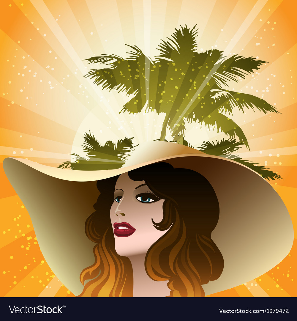 Girl in a beach hat vector