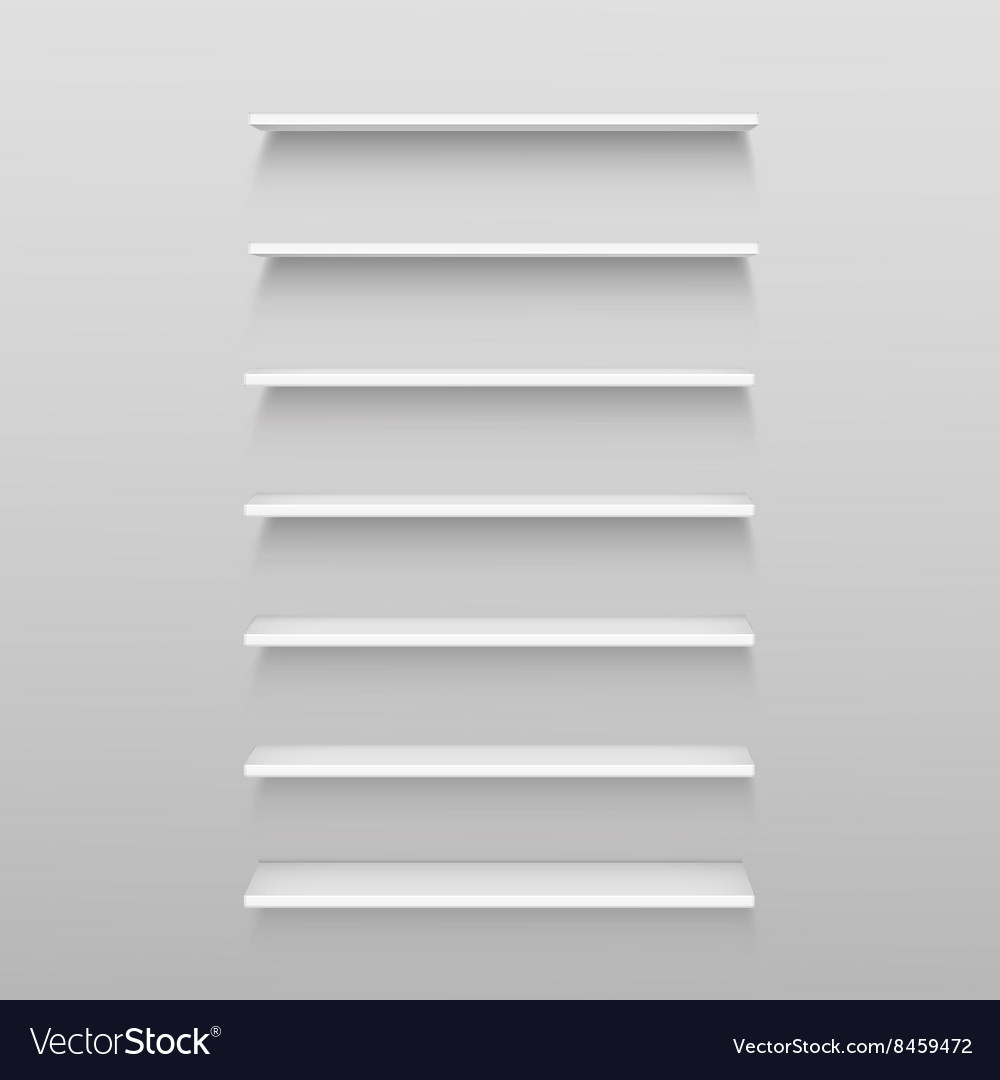 White empty shelf shelves isolated on wall vector