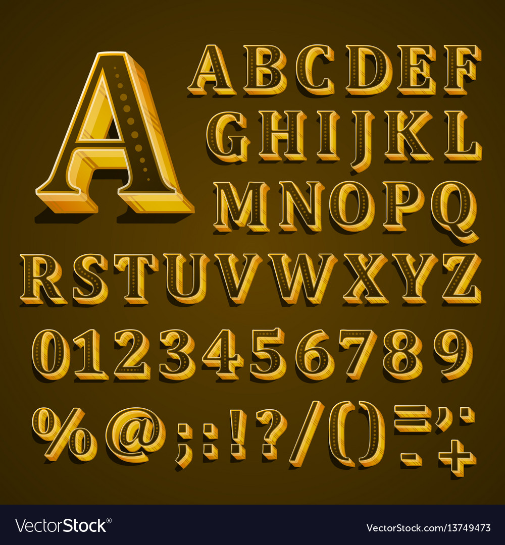 Golden english alphabet on khaki background vector