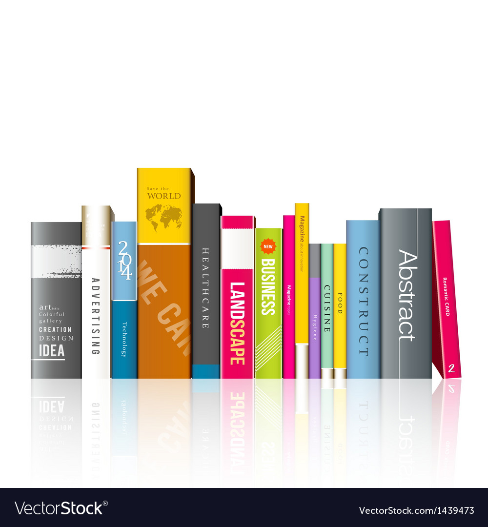 Row of colorful books vector