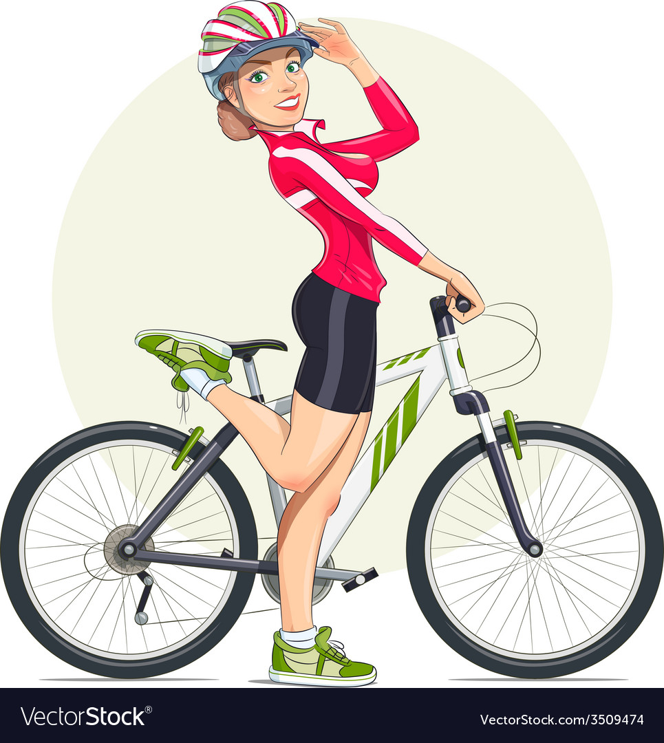 Beautiful girl in helmet with vector