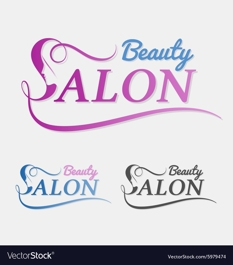 Beauty salon logo design with female face in negat vector