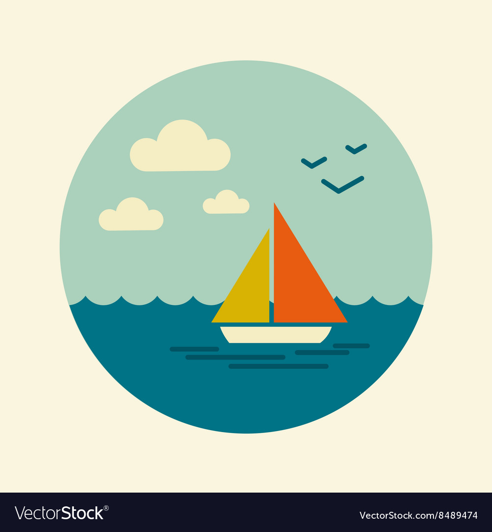 Boat with a sail icon marine sea vector