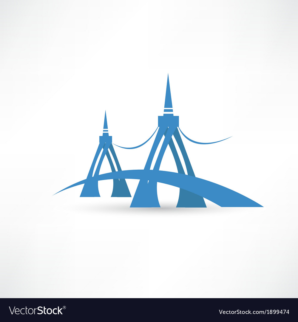 Bridge over the river abstraction icon vector