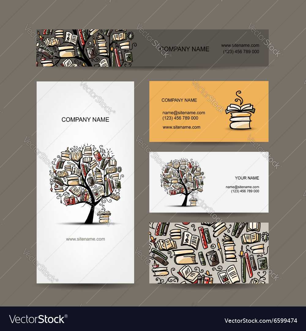 Business cards design with book tree vector