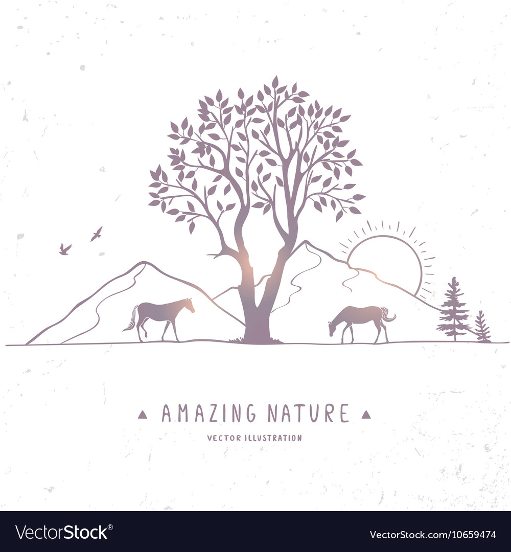 Horse silhouette nature vector