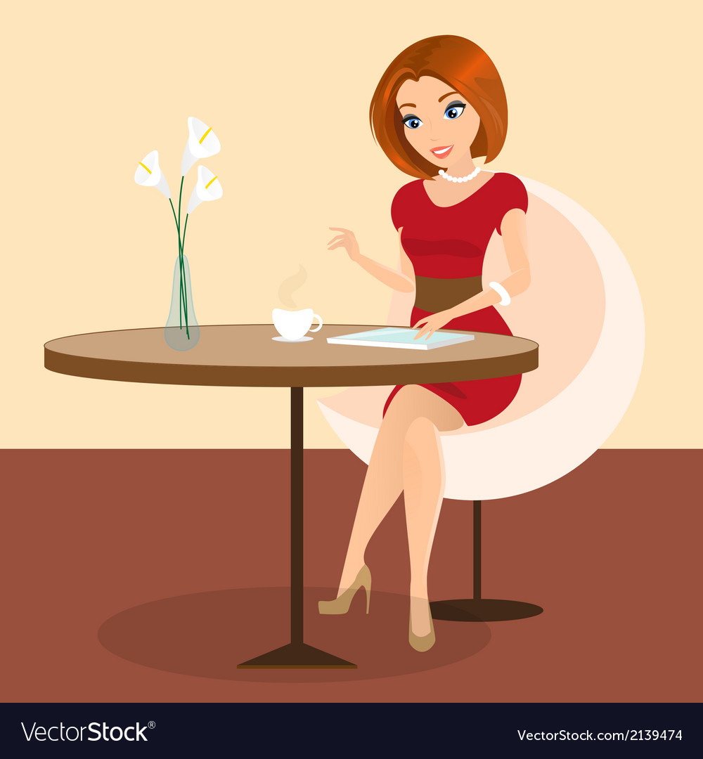 Young pretty woman sitting alone in the cafe and vector