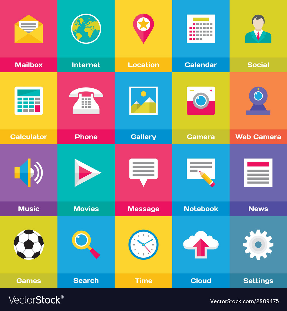 Icons base set in flat style design vector
