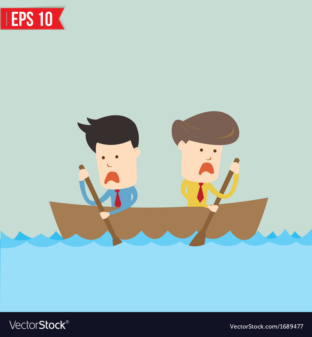 Cartoon business man rowing a boat   eps1 vector