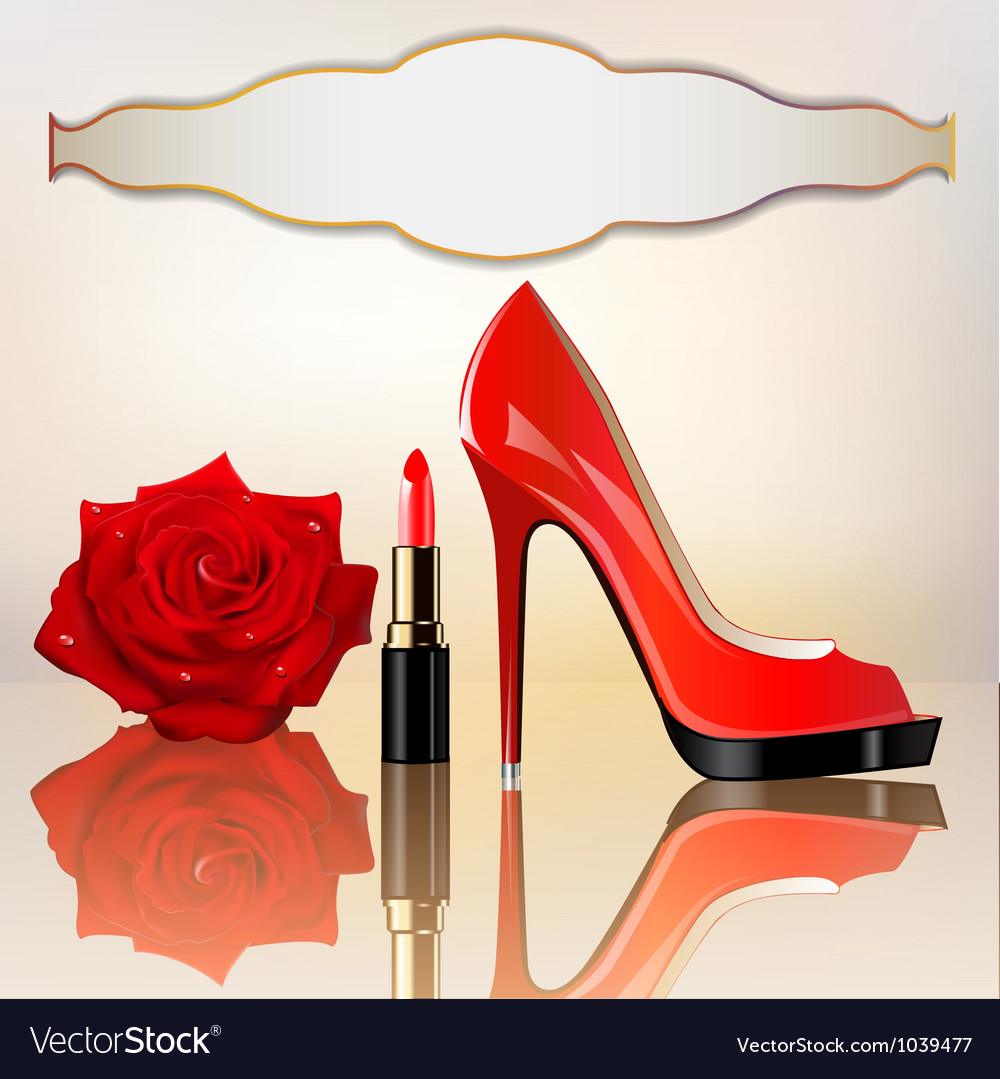 Lipstick rose background vector
