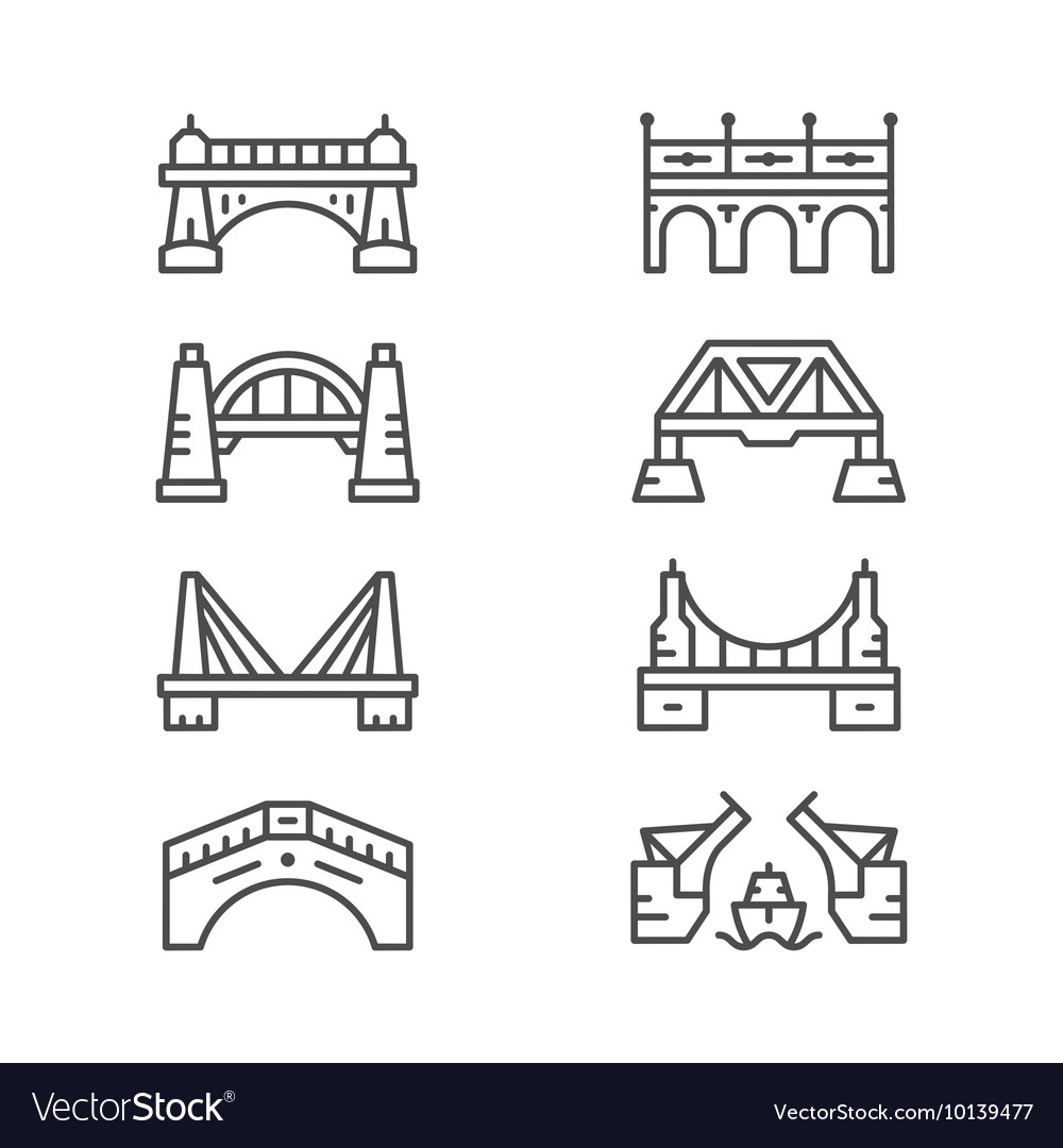 Set line icons of bridges vector
