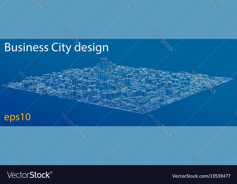 Wireframe city blueprint style vector