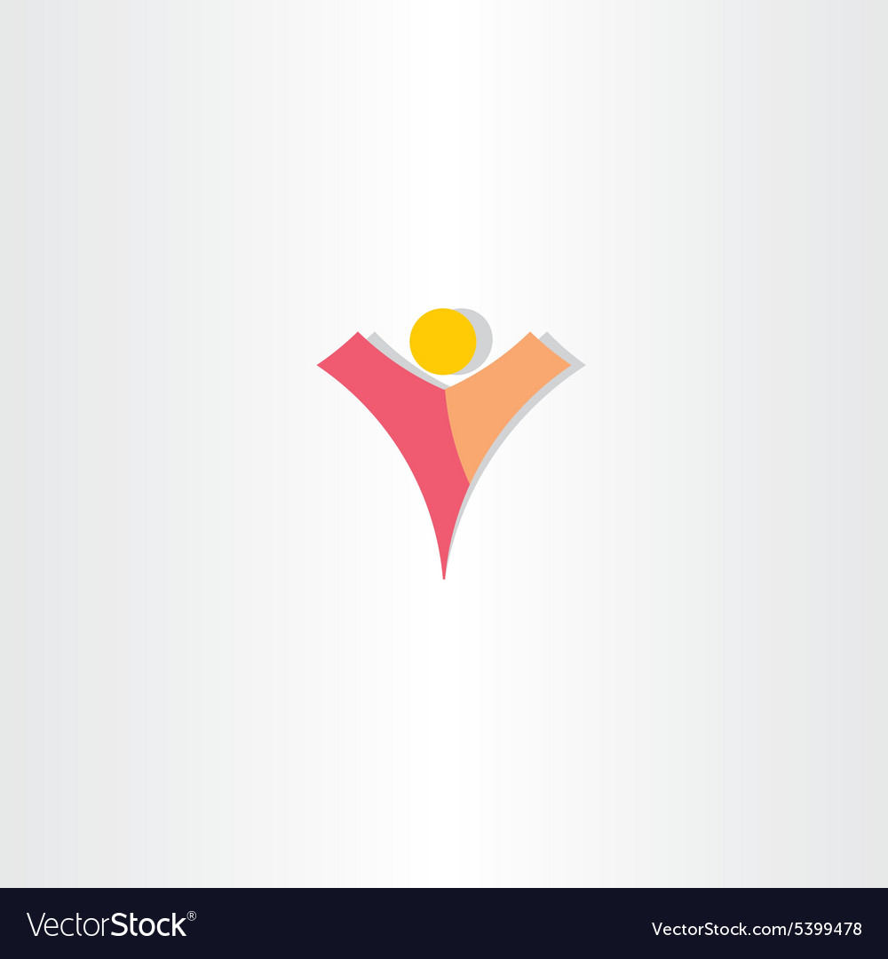 Letter v man logo design vector