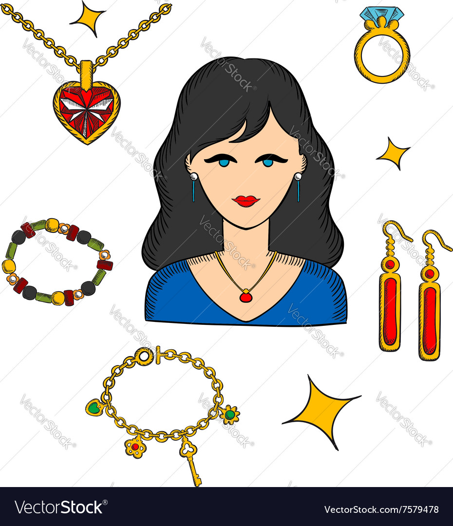 Woman with jewels and gold accessories vector