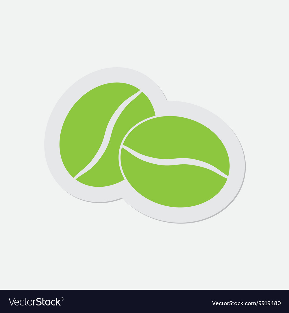 Simple green icon  two coffee beans vector