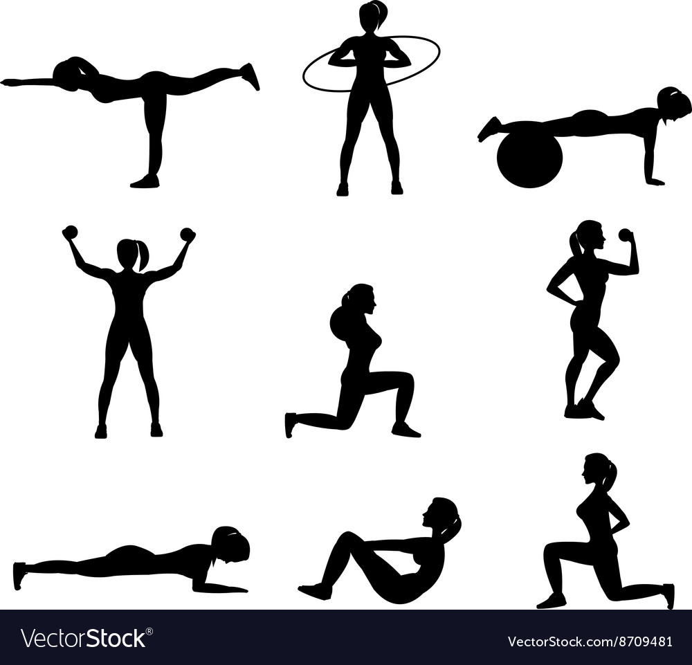 Fitness for woman flat icons set vector