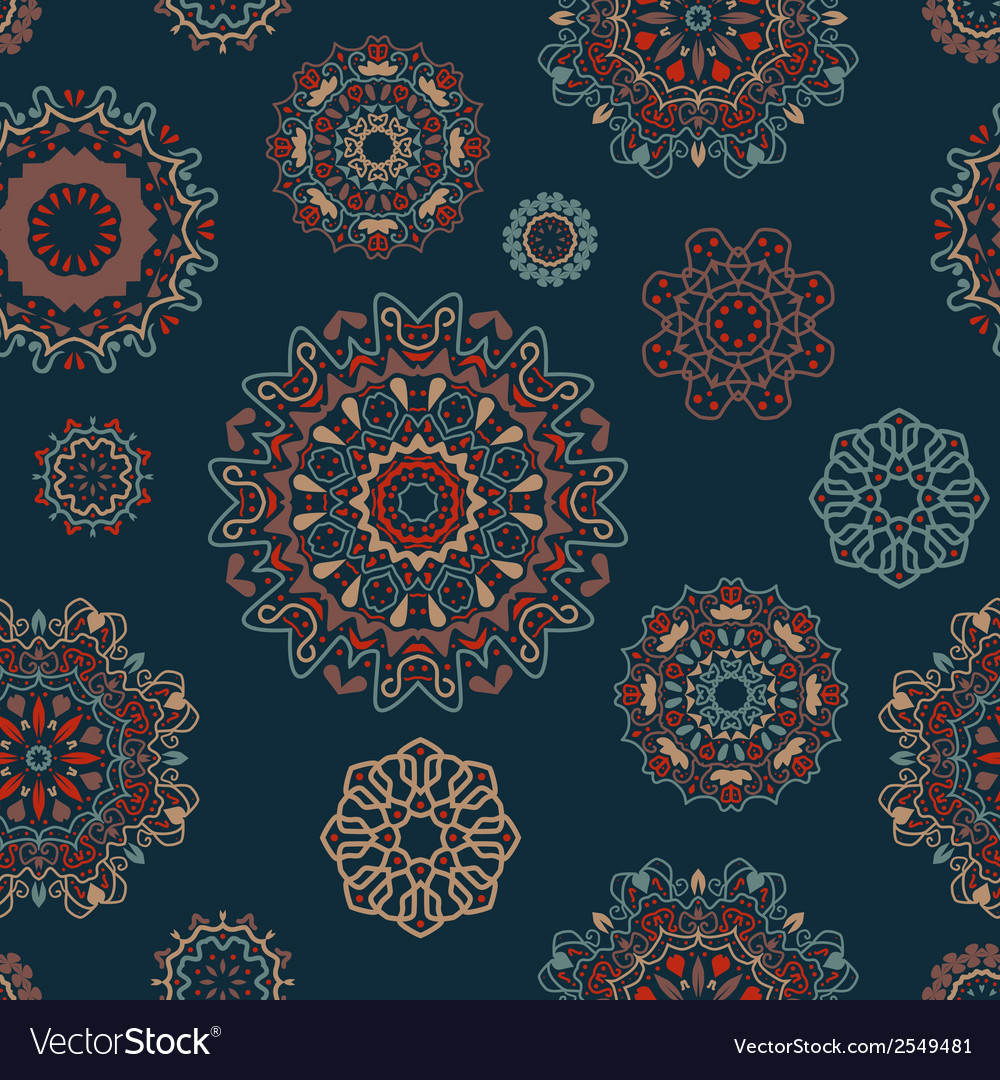 Seamless pattern with round floral ornaments vector