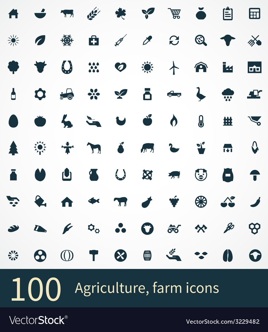 100 agriculture farm icons vector