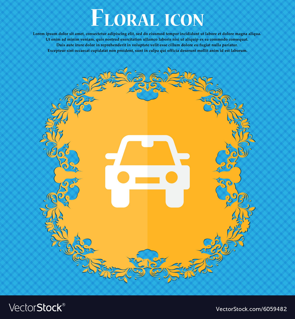 Auto floral flat design on a blue abstract vector