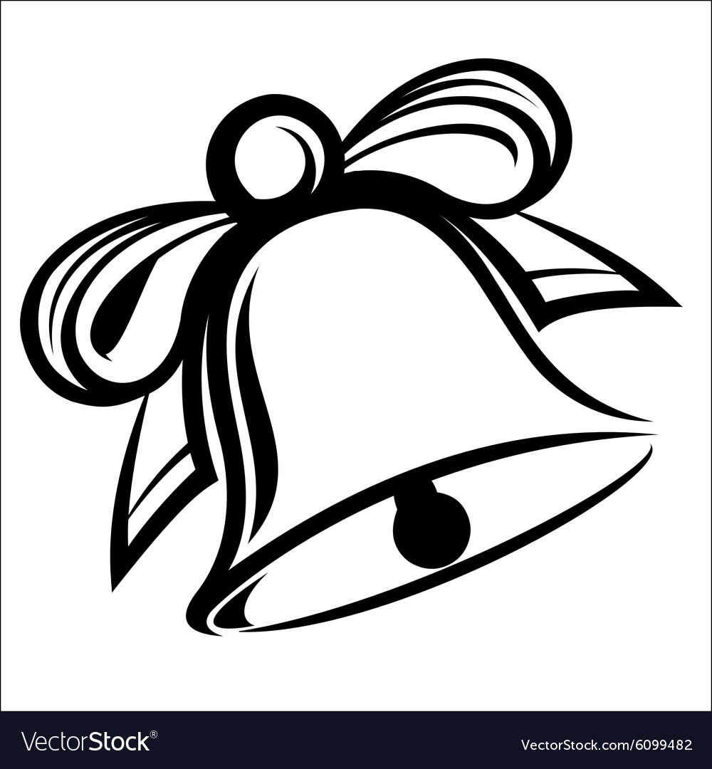 Bell with ribbon vector