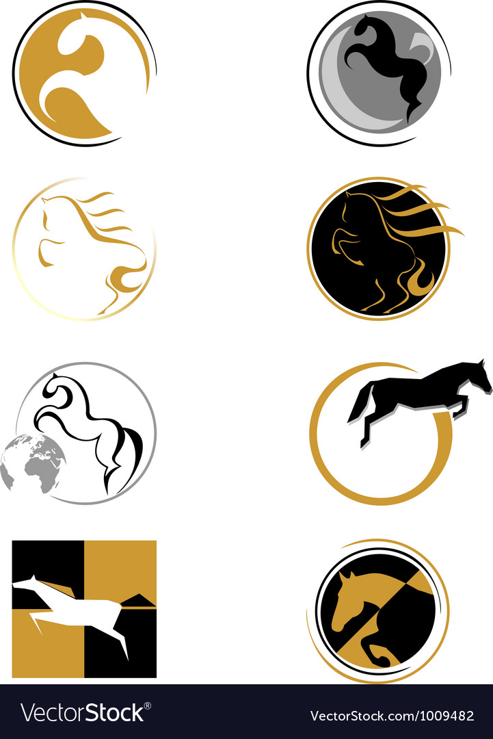 Set of logos with a horse vector