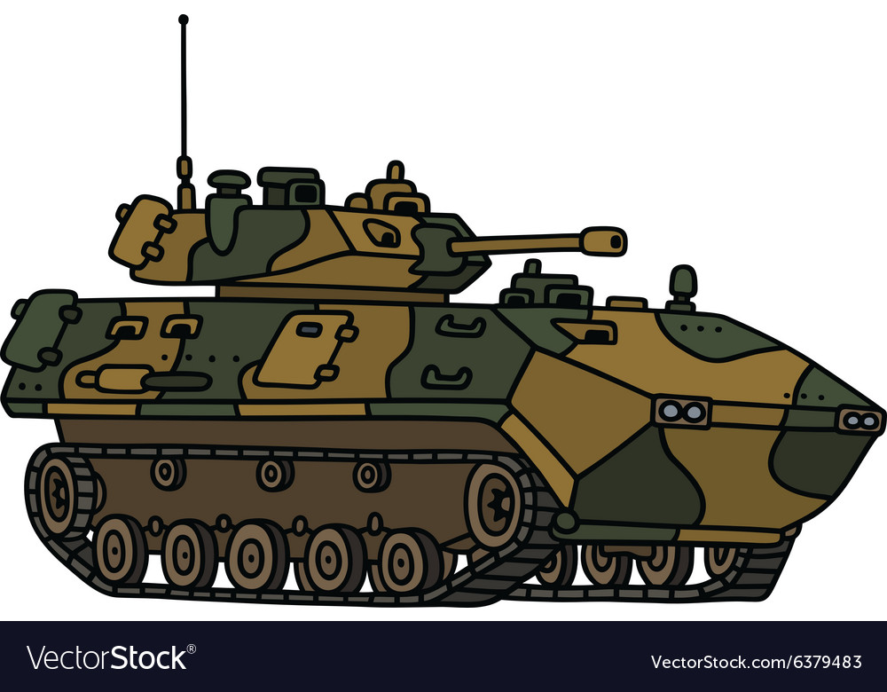 Camouflage track armoured vehicle vector