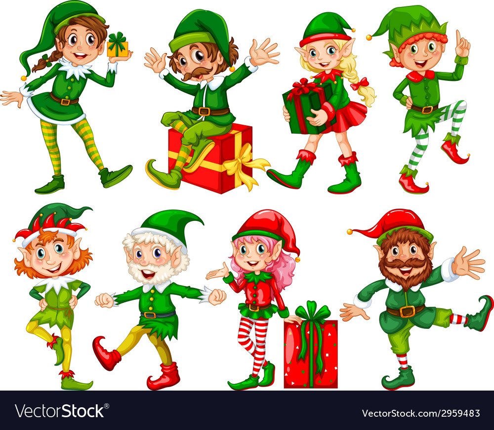Elf and presents vector