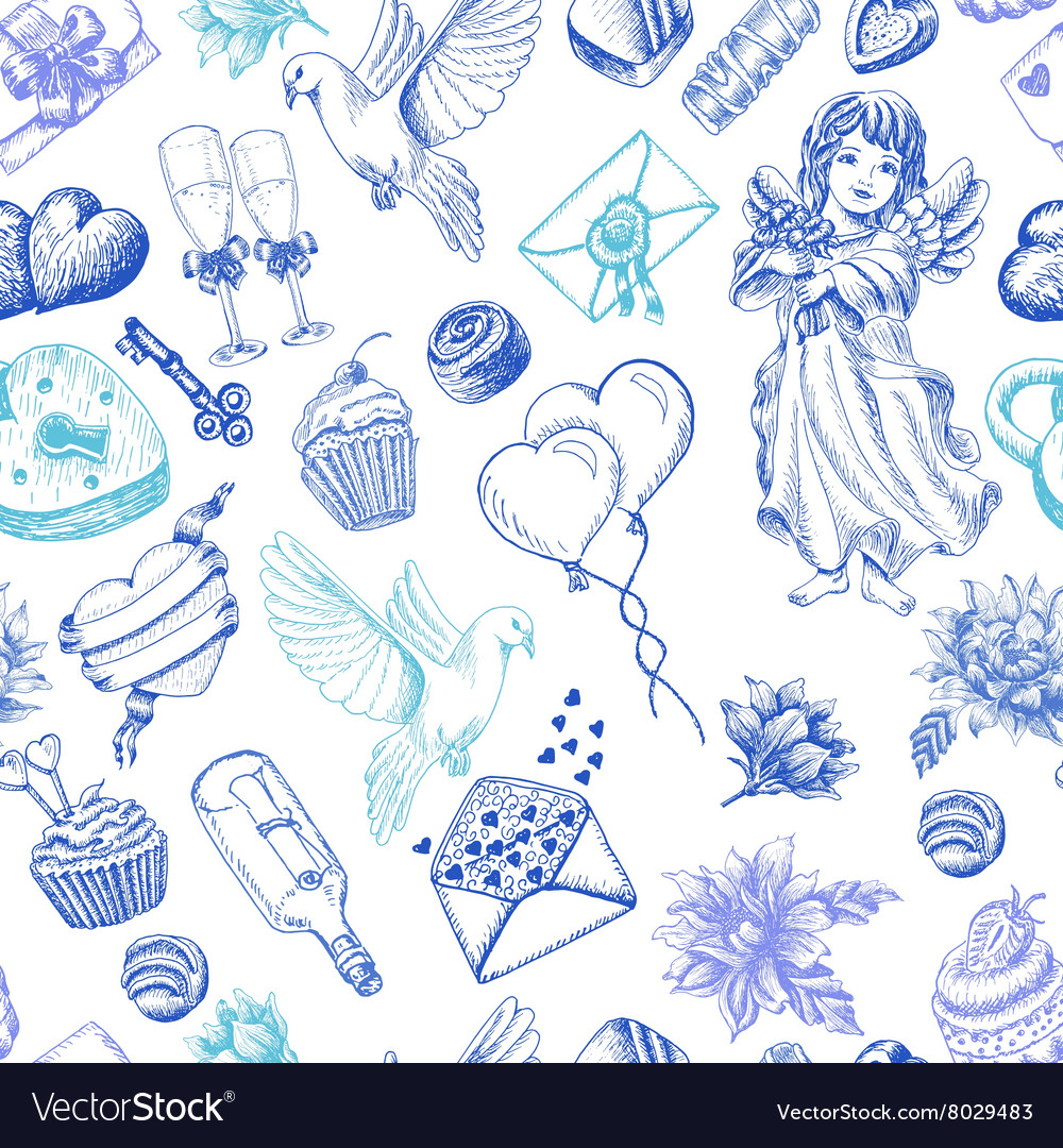Seamless pattern with love elements vector
