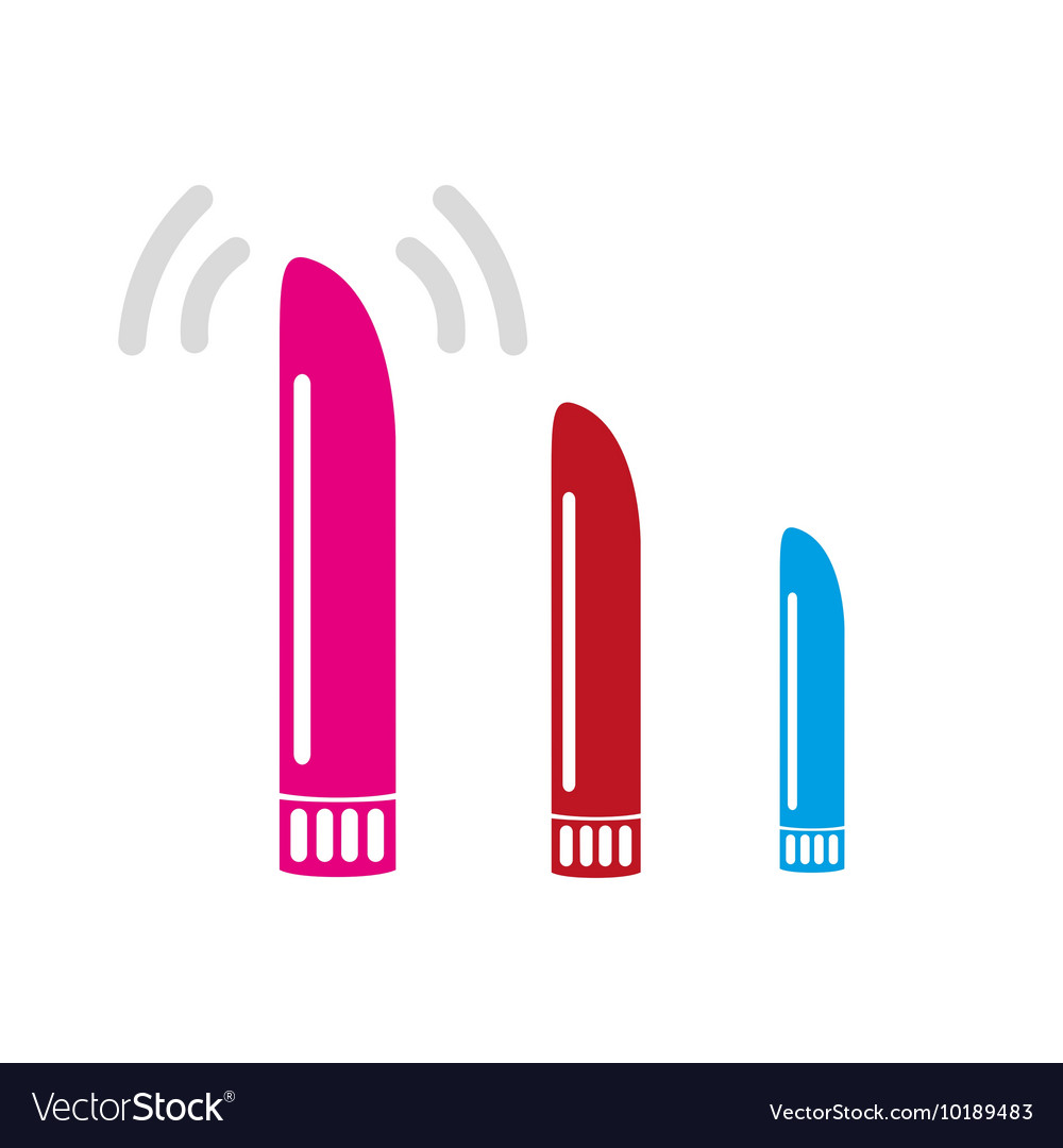 Three color vibrate dildo sex toy simple icons vector