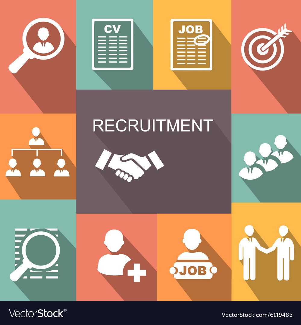 Recruitment poster icons set vector