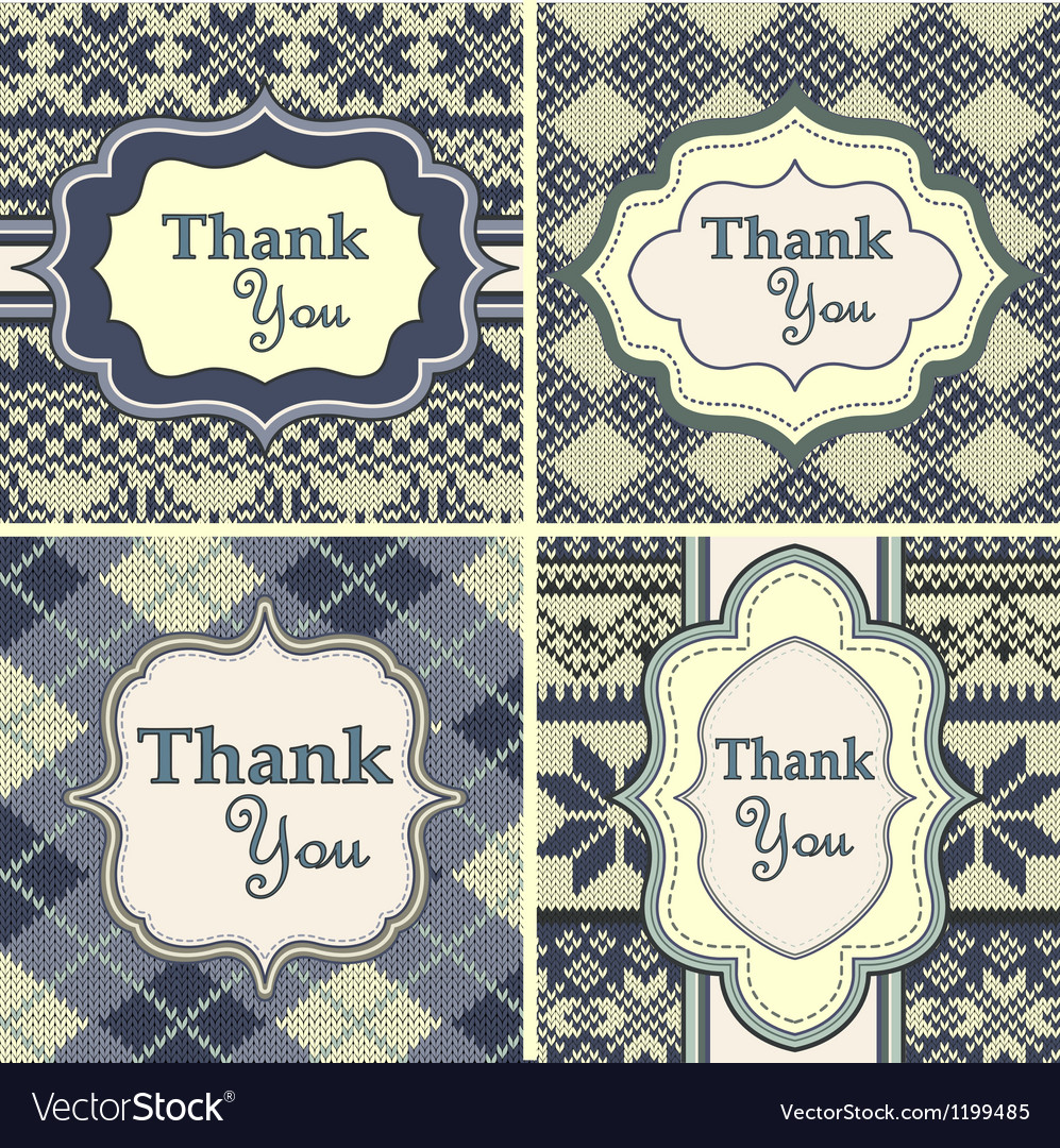 Set of vintage thank you cards with knitted vector
