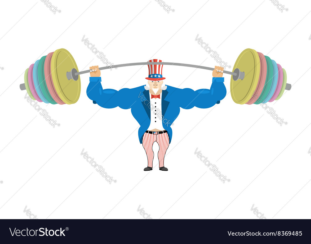Uncle sam and sports barbell powerful uncle sam vector