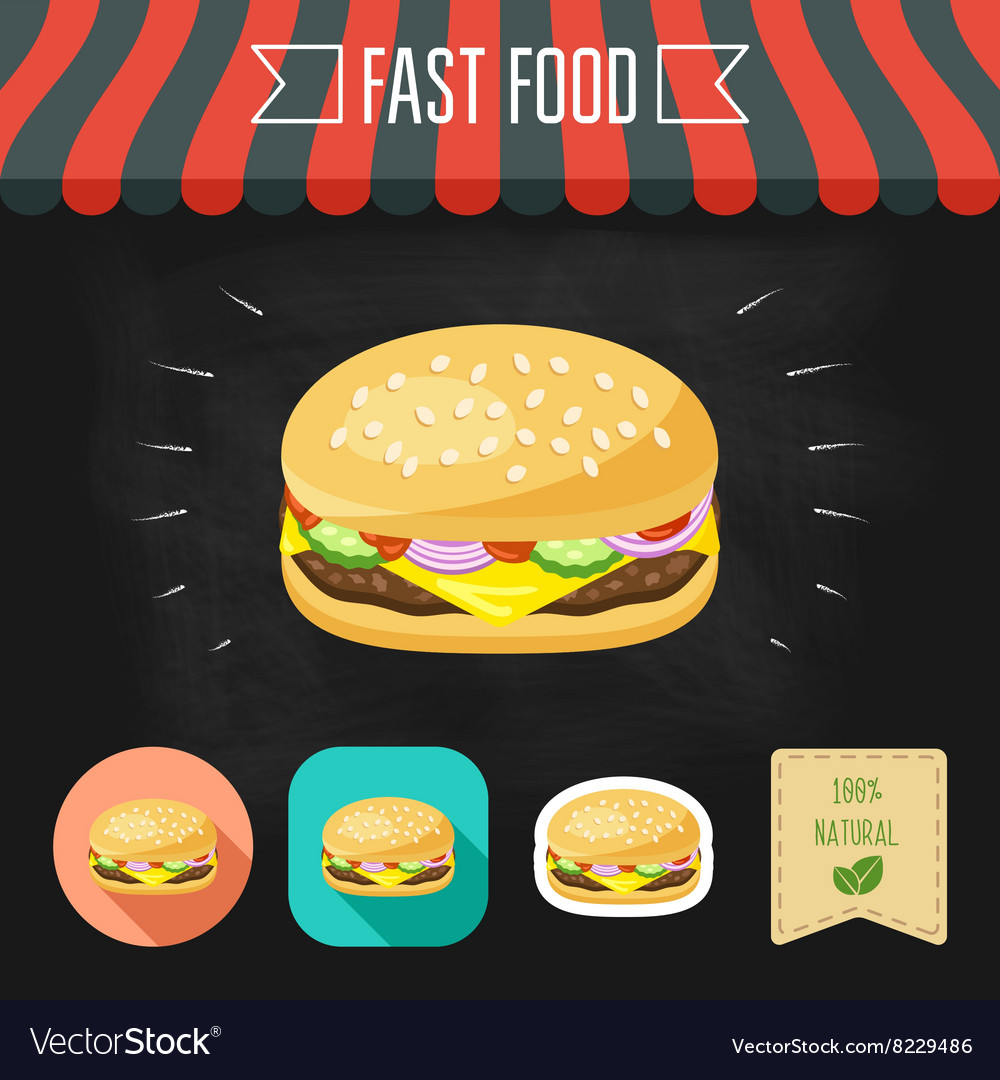 Cheeseburger icon on a chalkboard set of icons vector
