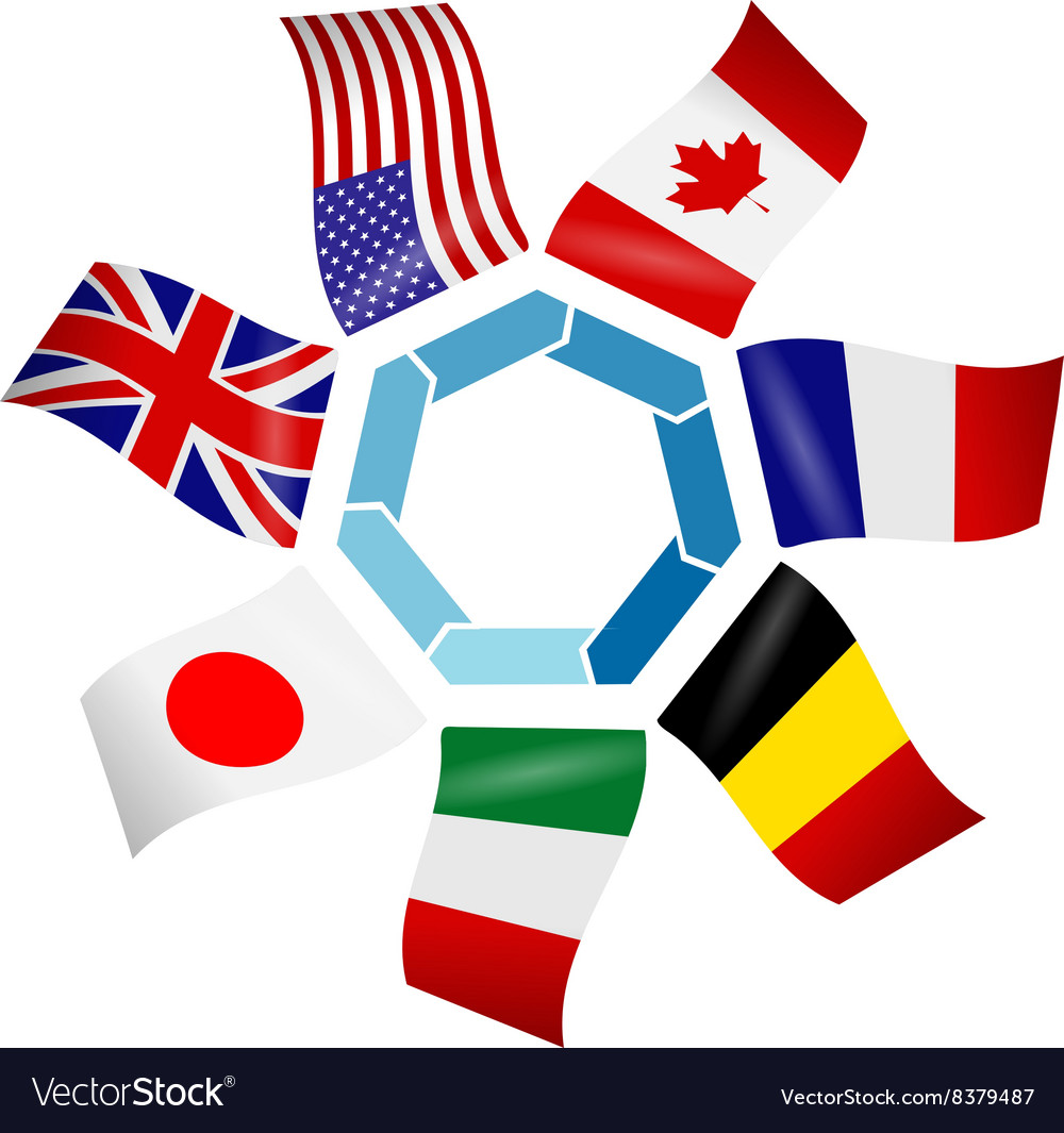 Flags countries of the group of seven vector