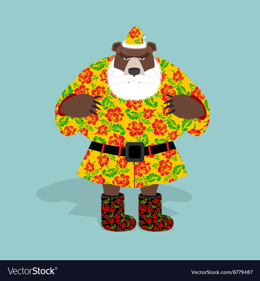 Russian bear in guise of snata claus wild animal vector
