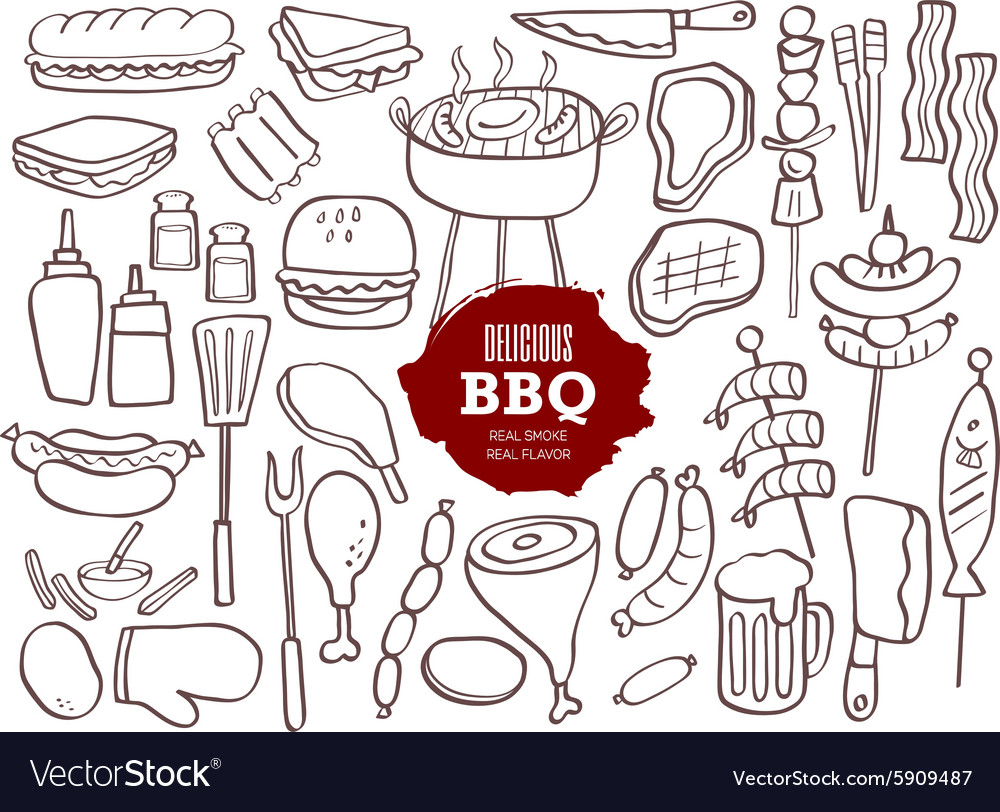 Set of hand drawn bbq doodles vector