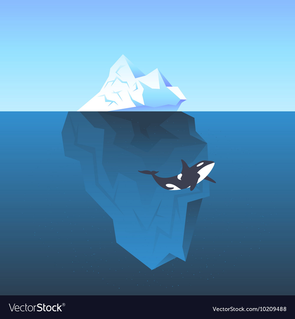 Iceberg in the sea and killer whale vector