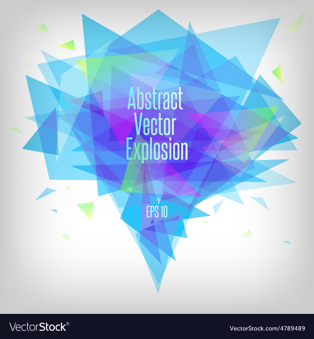 Abstract blue tones triangle explosion vector