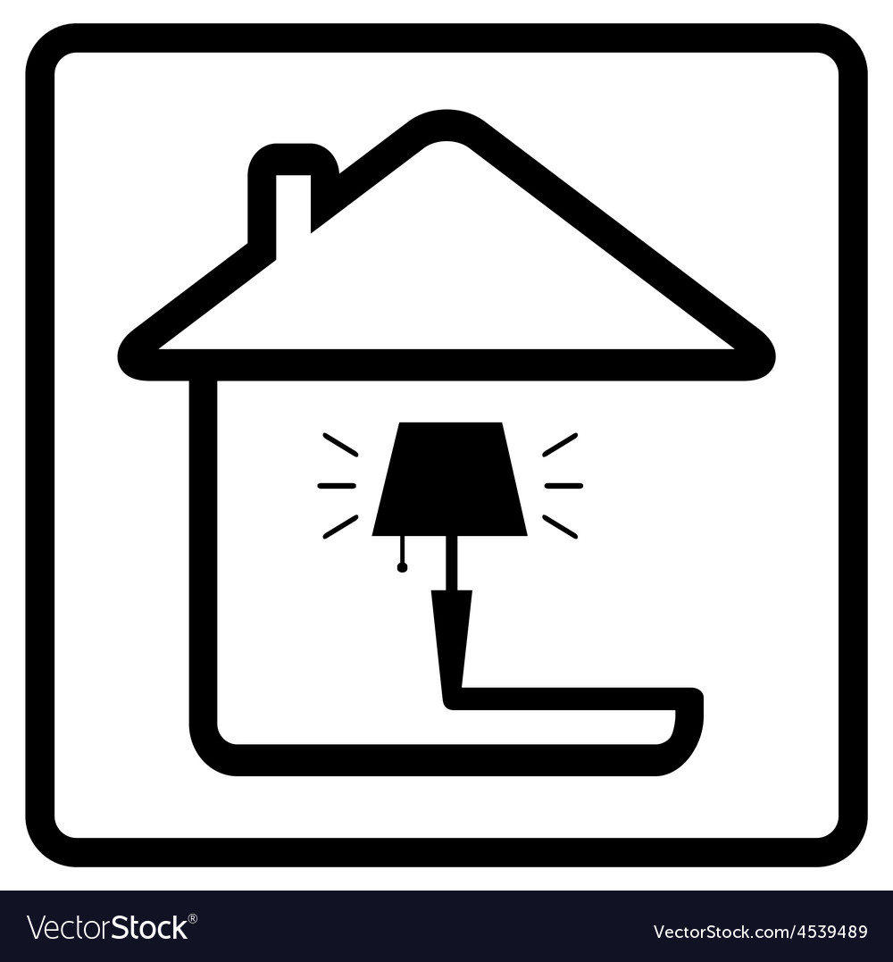 Lamp on home icon from the set line style vector