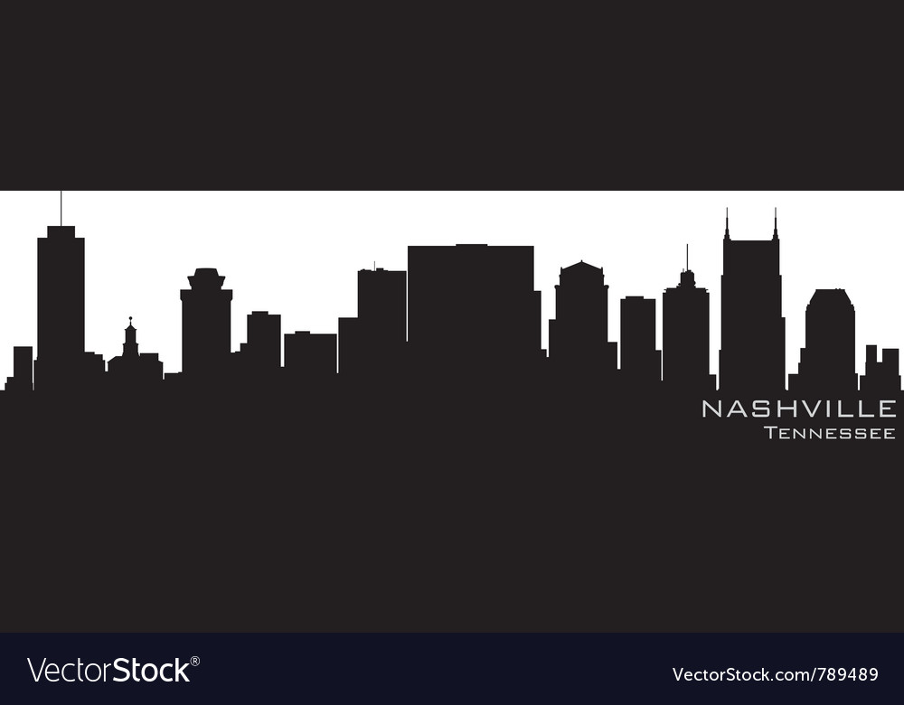 Nashville tennessee skyline detailed silhouette vector