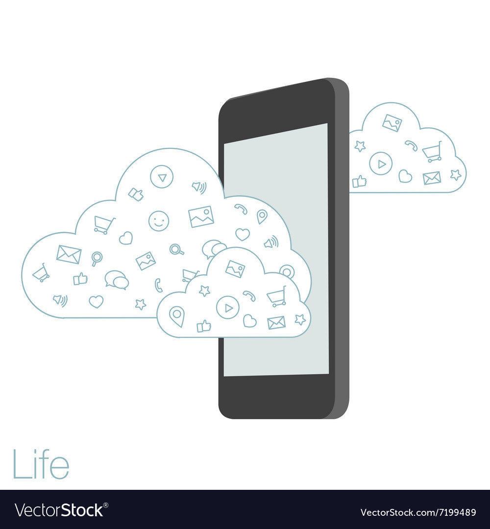 Screen mobile phone with flat icons on the vector