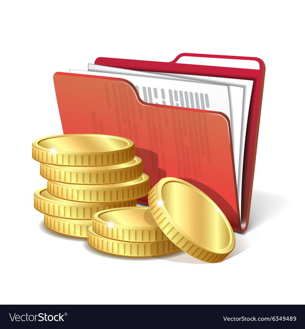 Stack of gold coins next to folder with documents vector