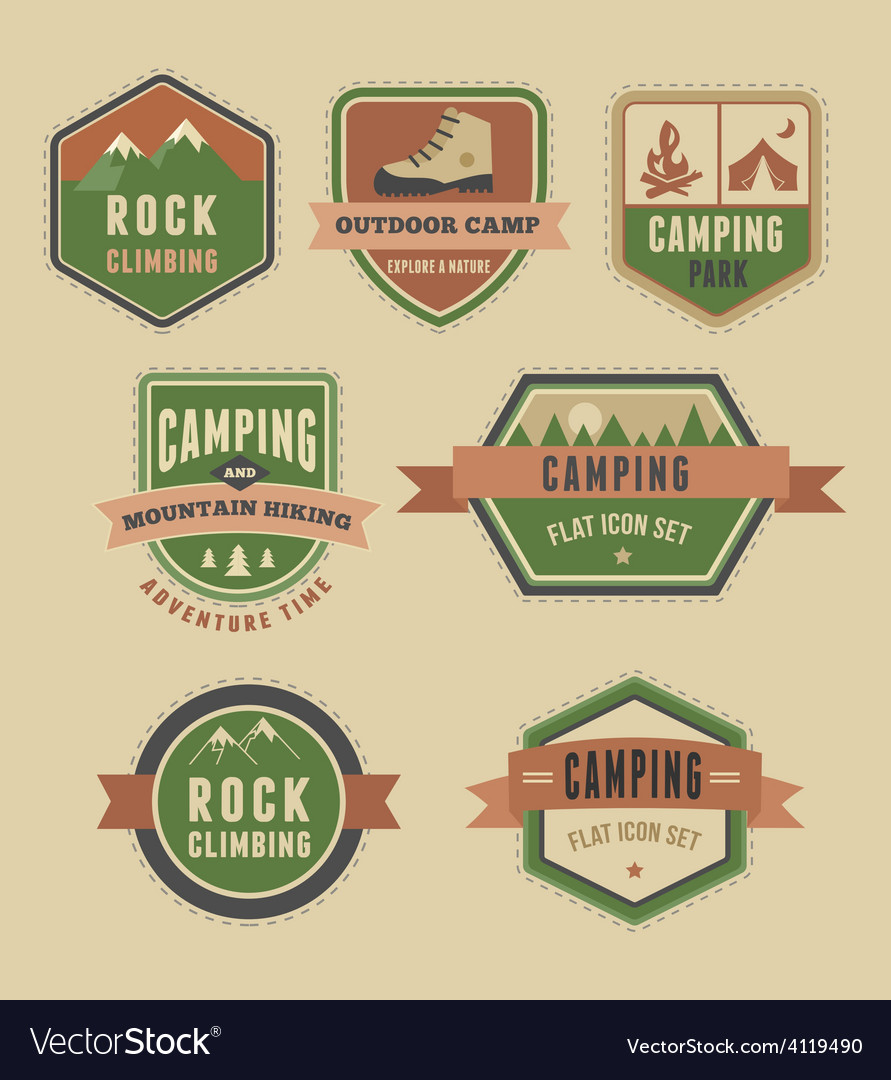 Hiking camp badges  set of icons and elements vector