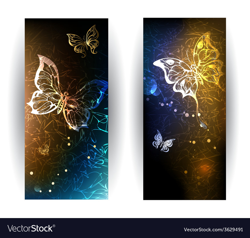 Two banners with glowing butterflies vector