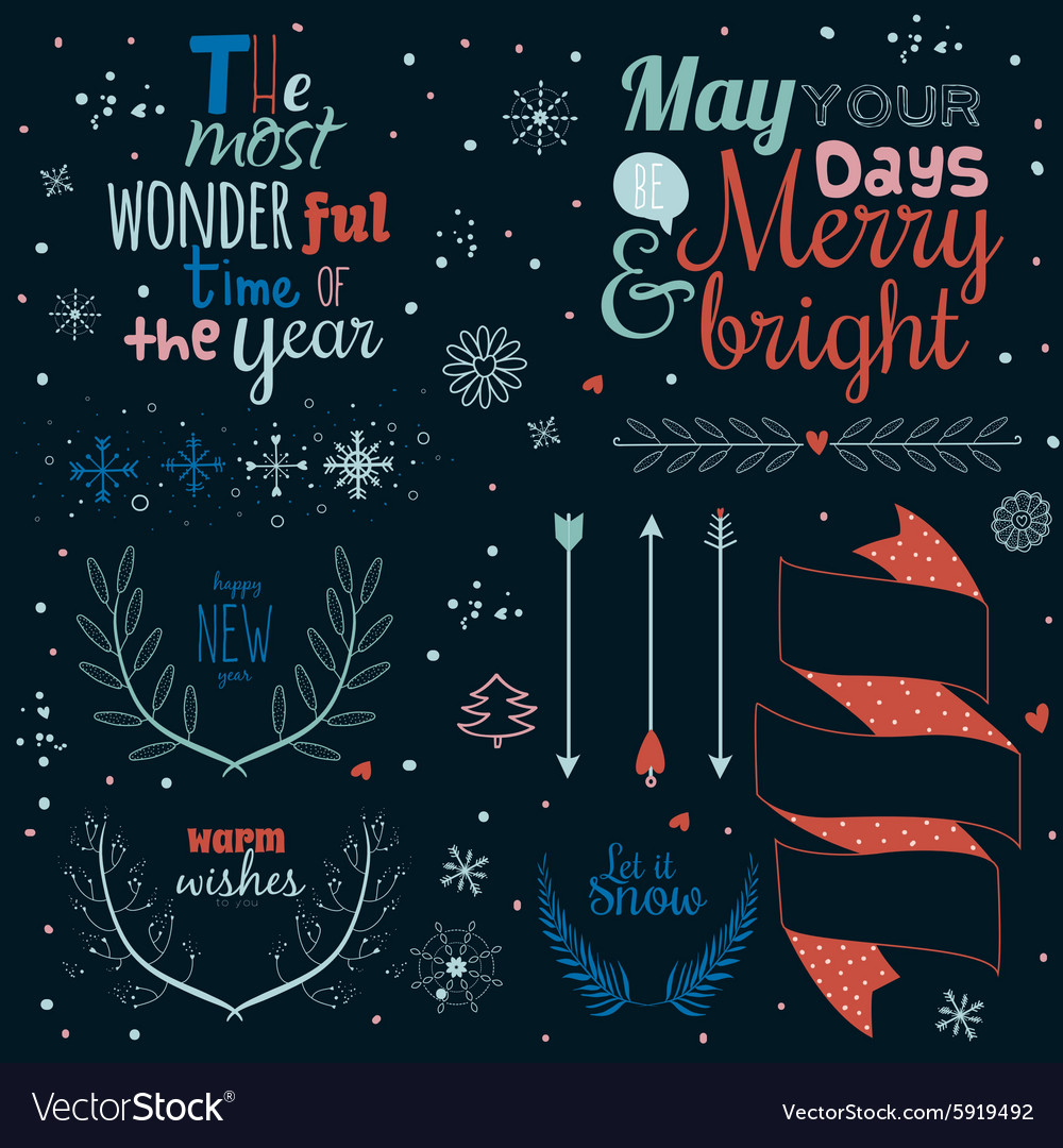 Christmas calligraphic wishes and winter elements vector