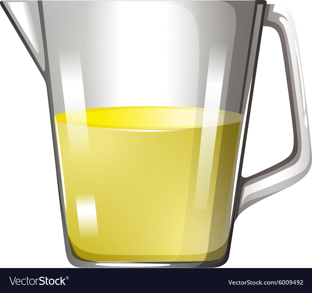 Yellow liquid in glass beaker vector