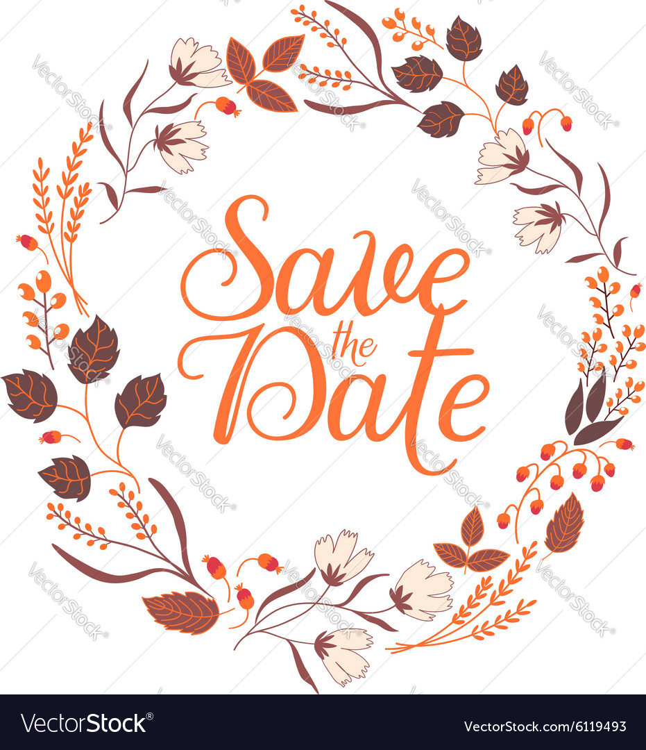 Autumn wedding floral frame collection sign vector