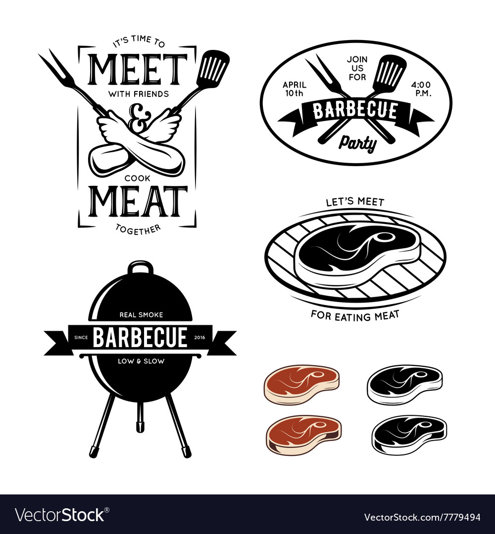 Barbecue related labels badges and design vector