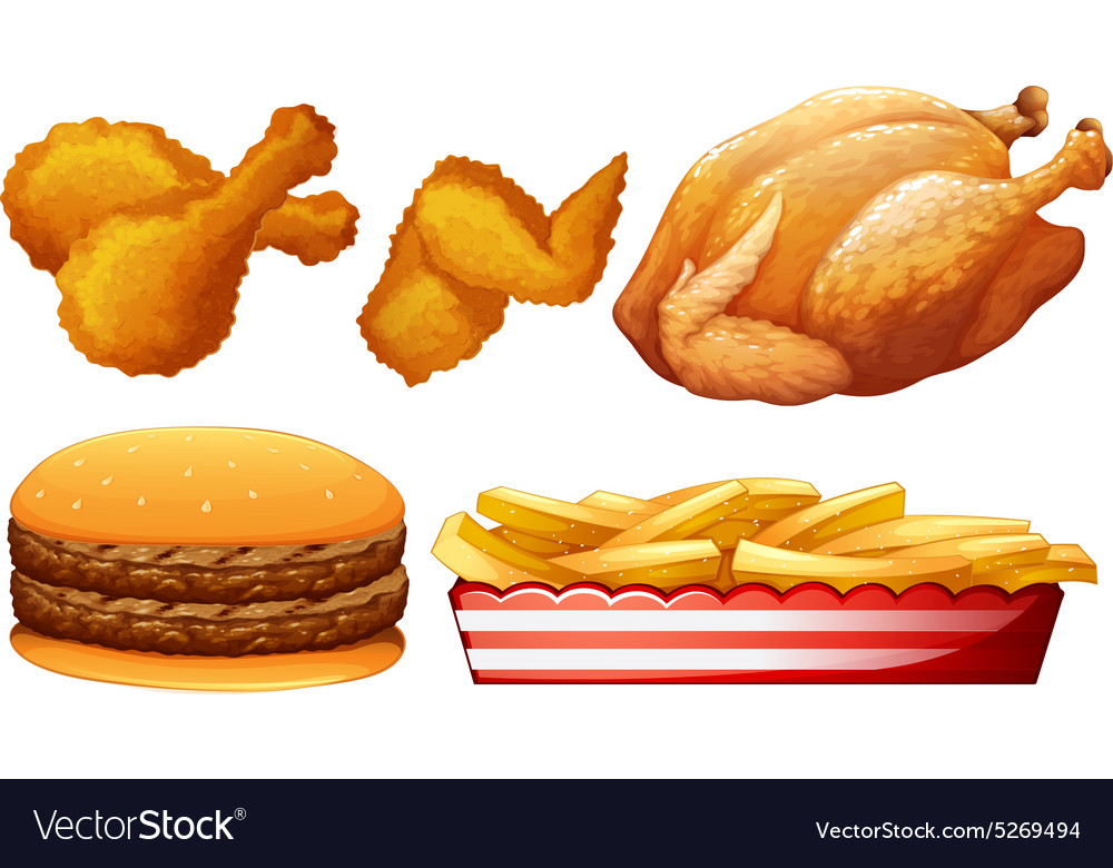 Chicken and fast food vector