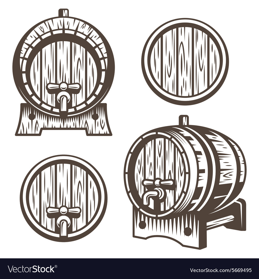 Set of vintage wooden barrels vector